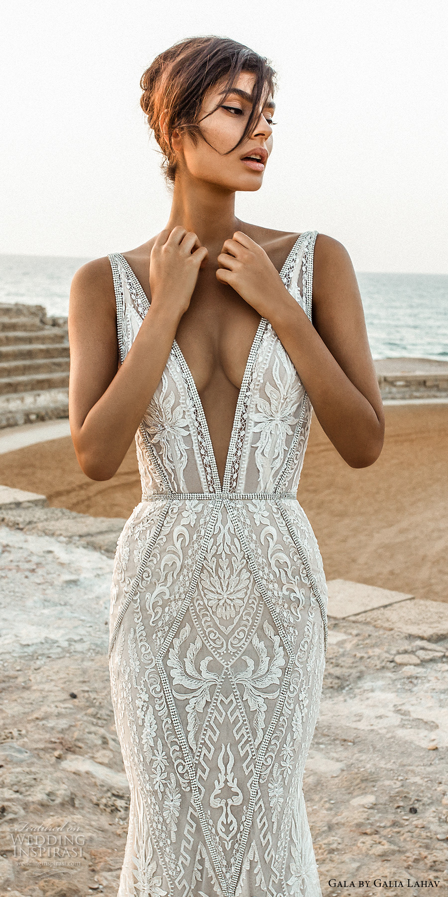 galia lahav gala 2017 bridal sleeveless deep plunging v neck full embellishment elegant sexy lace fit and flare sheath wedding dress open low back chapel train (802) zv