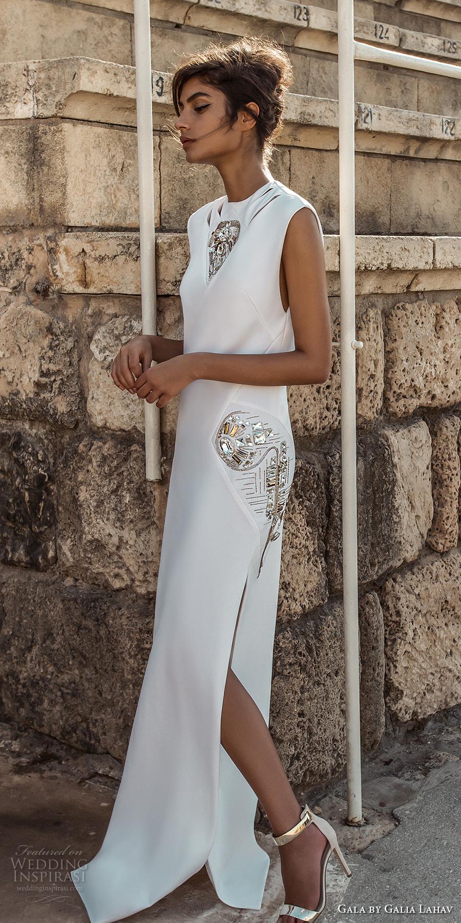 galia lahav gala 2017 bridal sleeveless high jewel neck simple light embellishment high side slit skirt elegant sheath wedding dress (812) mv