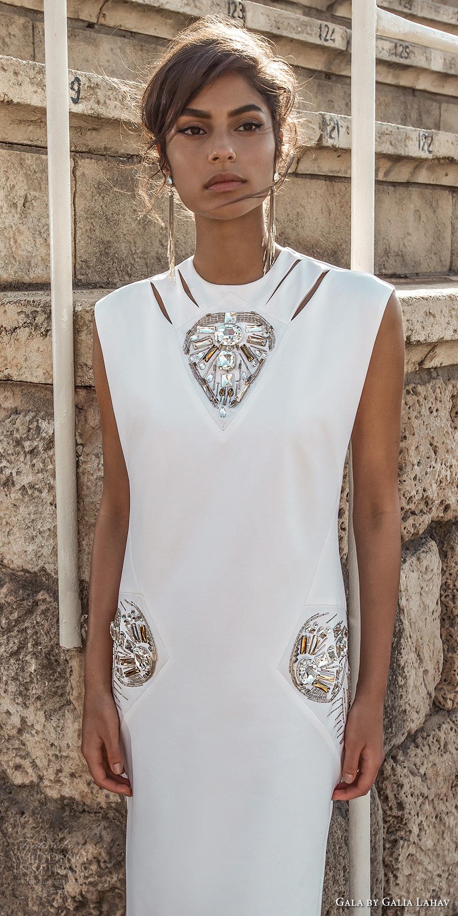 galia lahav gala 2017 bridal sleeveless high jewel neck simple light embellishment high side slit skirt elegant sheath wedding dress (812) zv