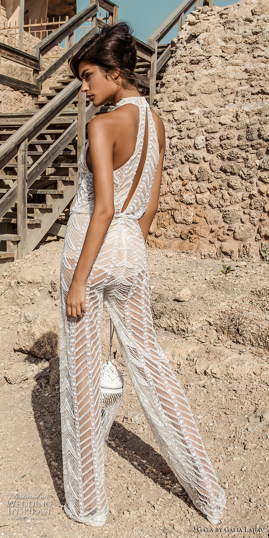 galia lahav gala 2017 bridal sleeveless high neck halter neck middle slit full embroidered lace jumper suit wedding dress rasor back (811) bv