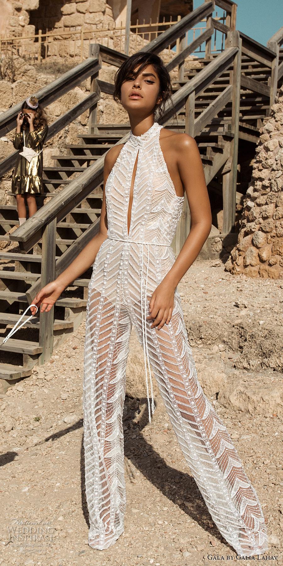 galia lahav gala 2017 bridal sleeveless high neck halter neck middle slit full embroidered lace jumper suit wedding dress rasor back (811) mv