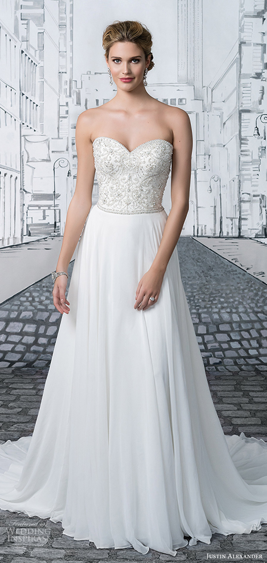 justin alexander spring 2017 (8895) strapless sweetheart beaded bodice soft a line wedding dress mv