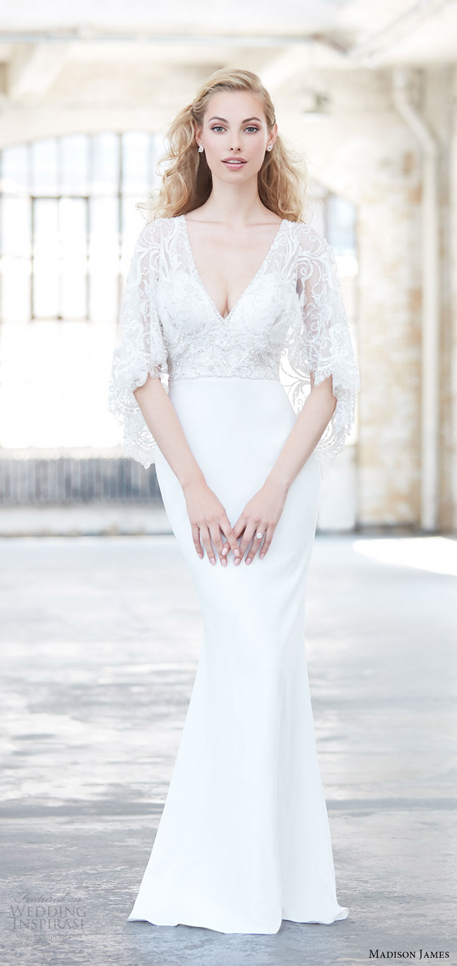 madison james spring 2017 (mj315) flutter cape sleeves beaded lace bodice deep v neck sheath wedding dress mv