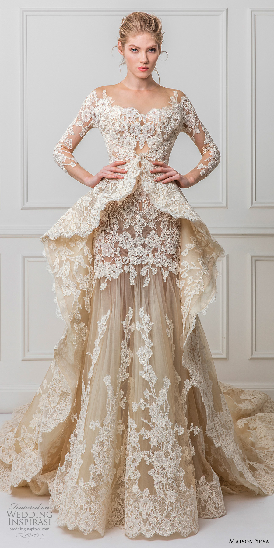 Maison Yeya 2017 Bridal Three Quarter Sleeves Illusion Jewel Off The Shoulder Full Embellishment Peplum Ivory