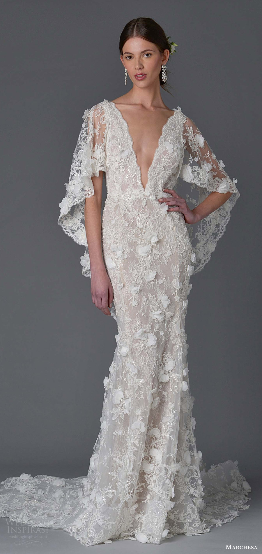 marchesa spring 2017 bridal (3) flutter sleeves deep v neck sheath lace wedding dress appliques mv