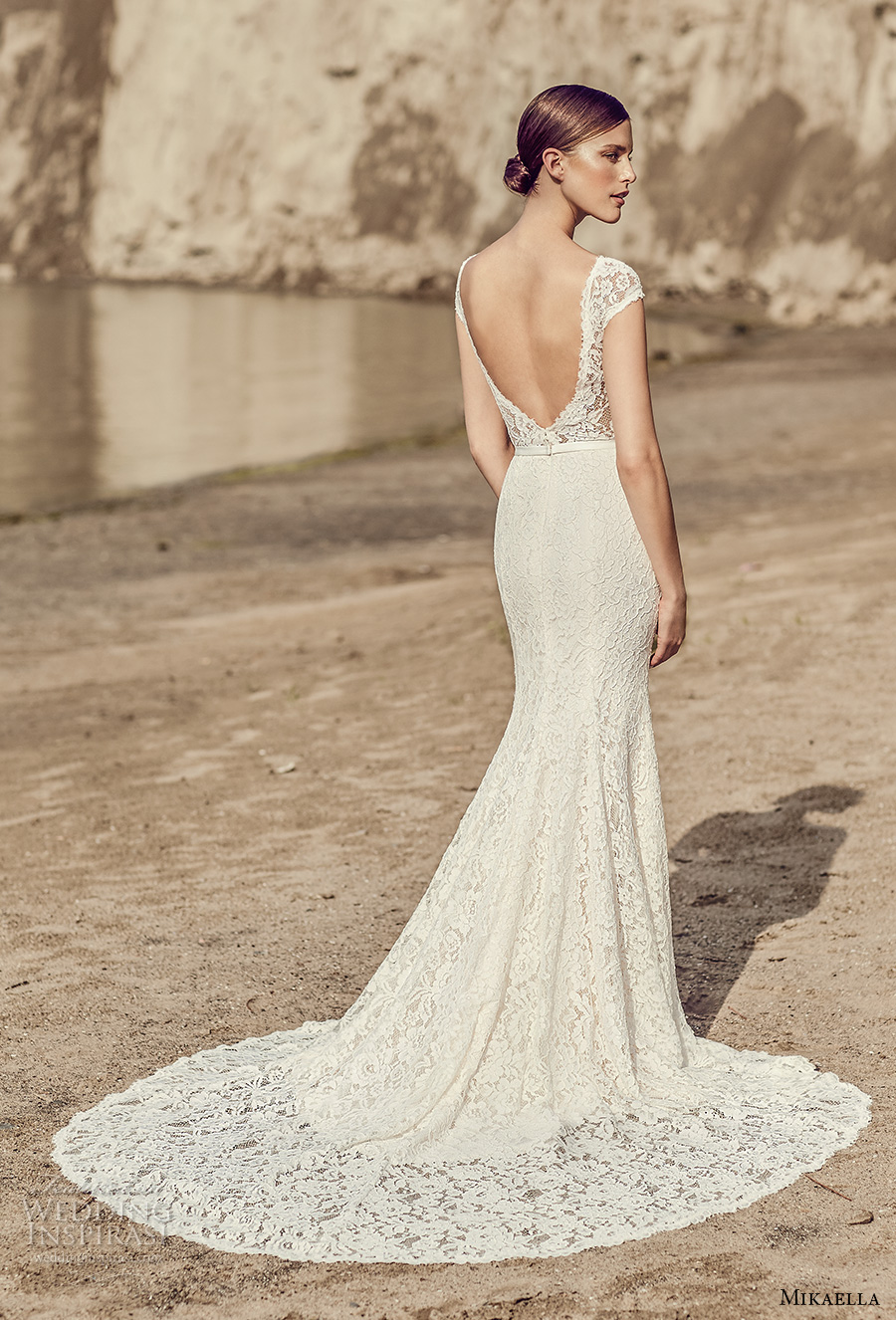 mikaella spring 2017 bridal cap sleeves plunging v neckline full embroidered middle slit elegant sheath fit flare wedding dress open low back chapel train (2116) bv