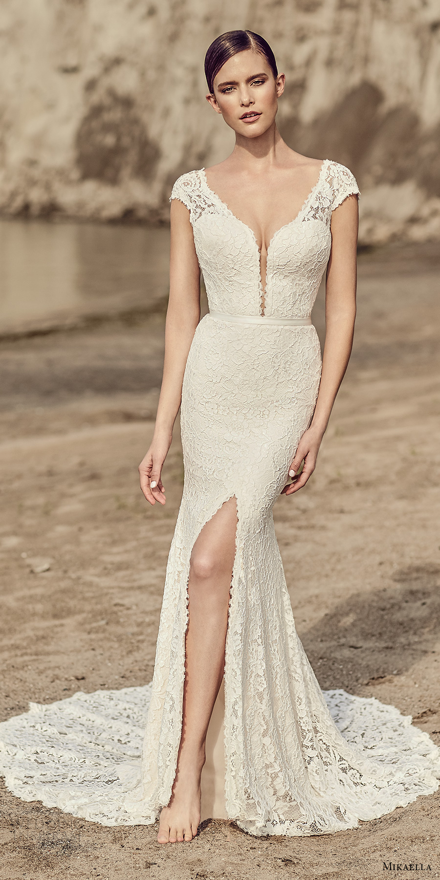 mikaella spring 2017 bridal cap sleeves plunging v neckline full embroidered middle slit elegant sheath fit flare wedding dress open low back chapel train (2116) mv
