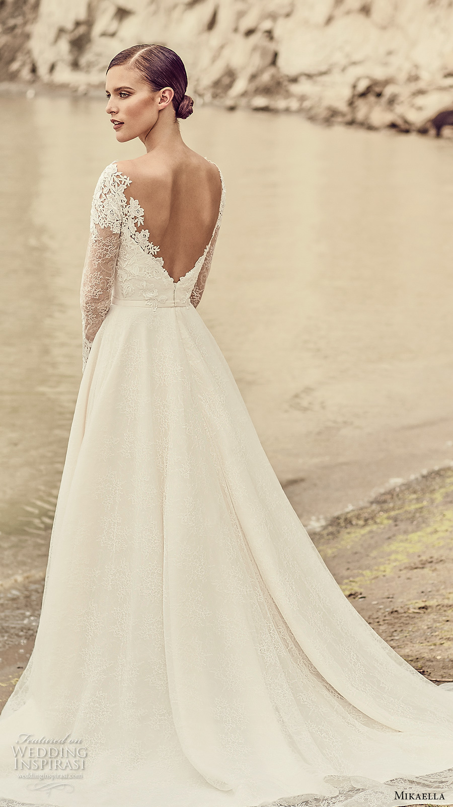 mikaella spring 2017 bridal long sleeves sweetheart neckline heavily embellihsed bodice romantic elegant a line wedding dress open low back chapel train (2118) bv