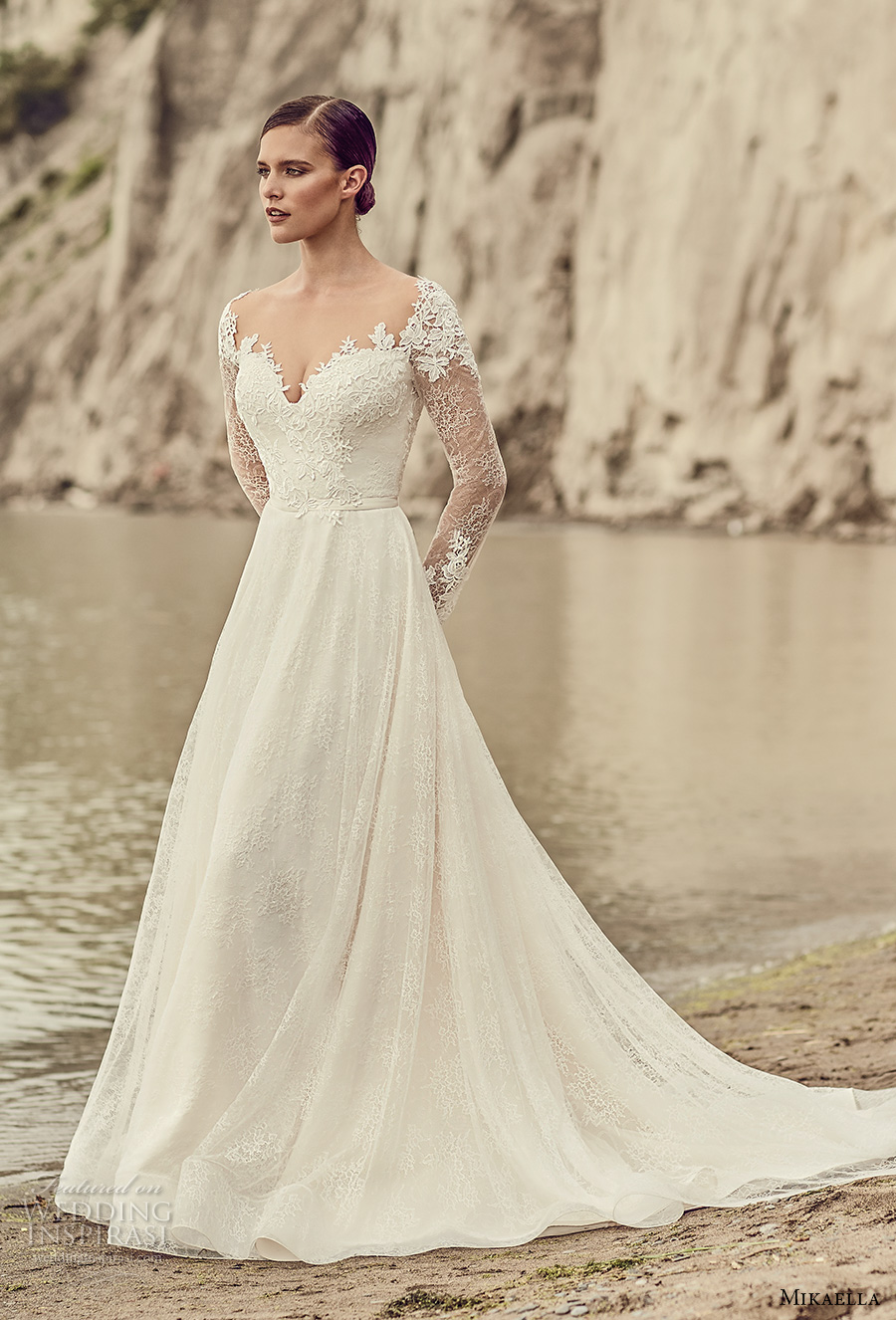 mikaella spring 2017 bridal long sleeves sweetheart neckline heavily embellihsed bodice romantic elegant a line wedding dress open low back chapel train (2118) mv