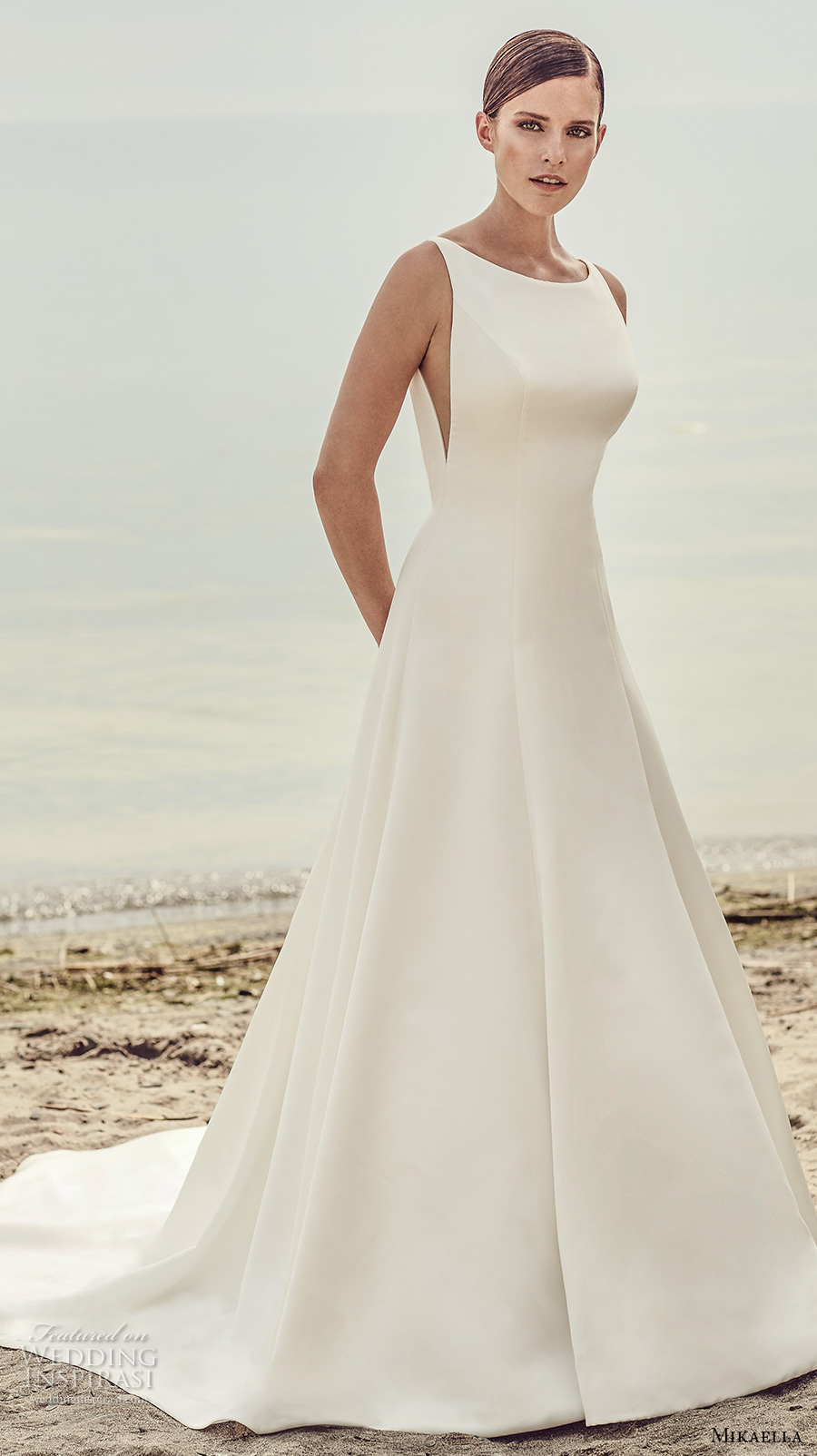 mikaella spring 2017 bridal sleeveless bateau neck simple clean design open side bodice a line wedding dress open low back chapel train (2115) mv