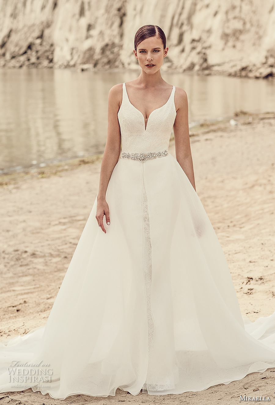 mikaella spring 2017 bridal sleeveless deep plunging sweetheart neckline full embroidered elegant fit and flare wedding dress a  line overskirt cross straps back sweep train (2120) mv