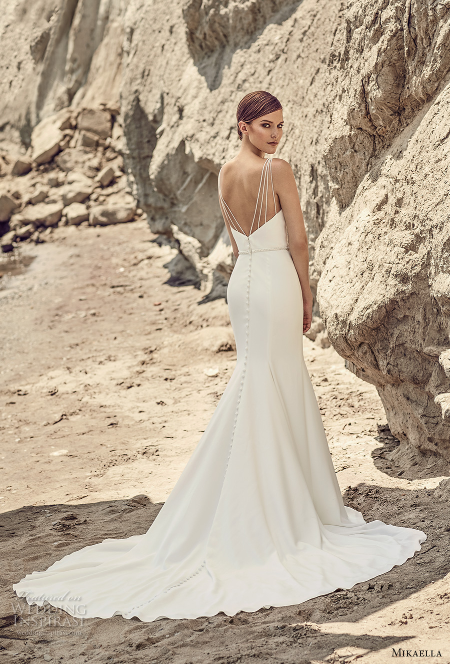 mikaella spring 2017 bridal sleeveless deep plunging v neck simple clean design elegant middle slit fit and flare wedding dress chapel train (2107) bv