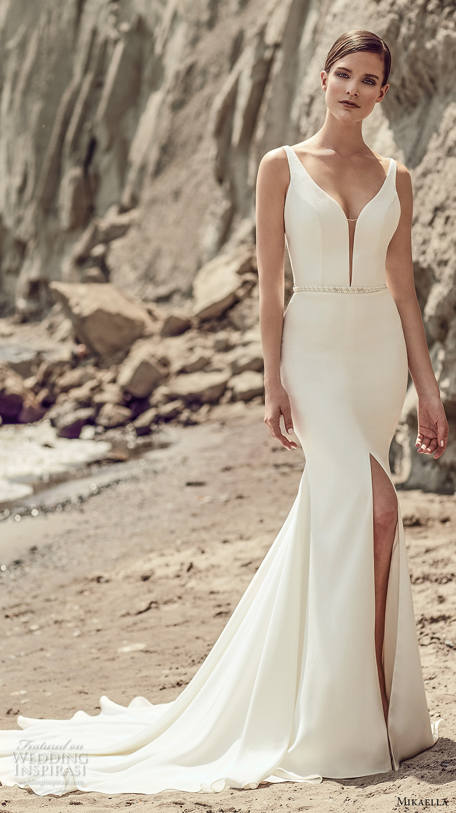 mikaella spring 2017 bridal sleeveless deep plunging v neck simple clean design elegant middle slit fit and flare wedding dress chapel train (2107) mv