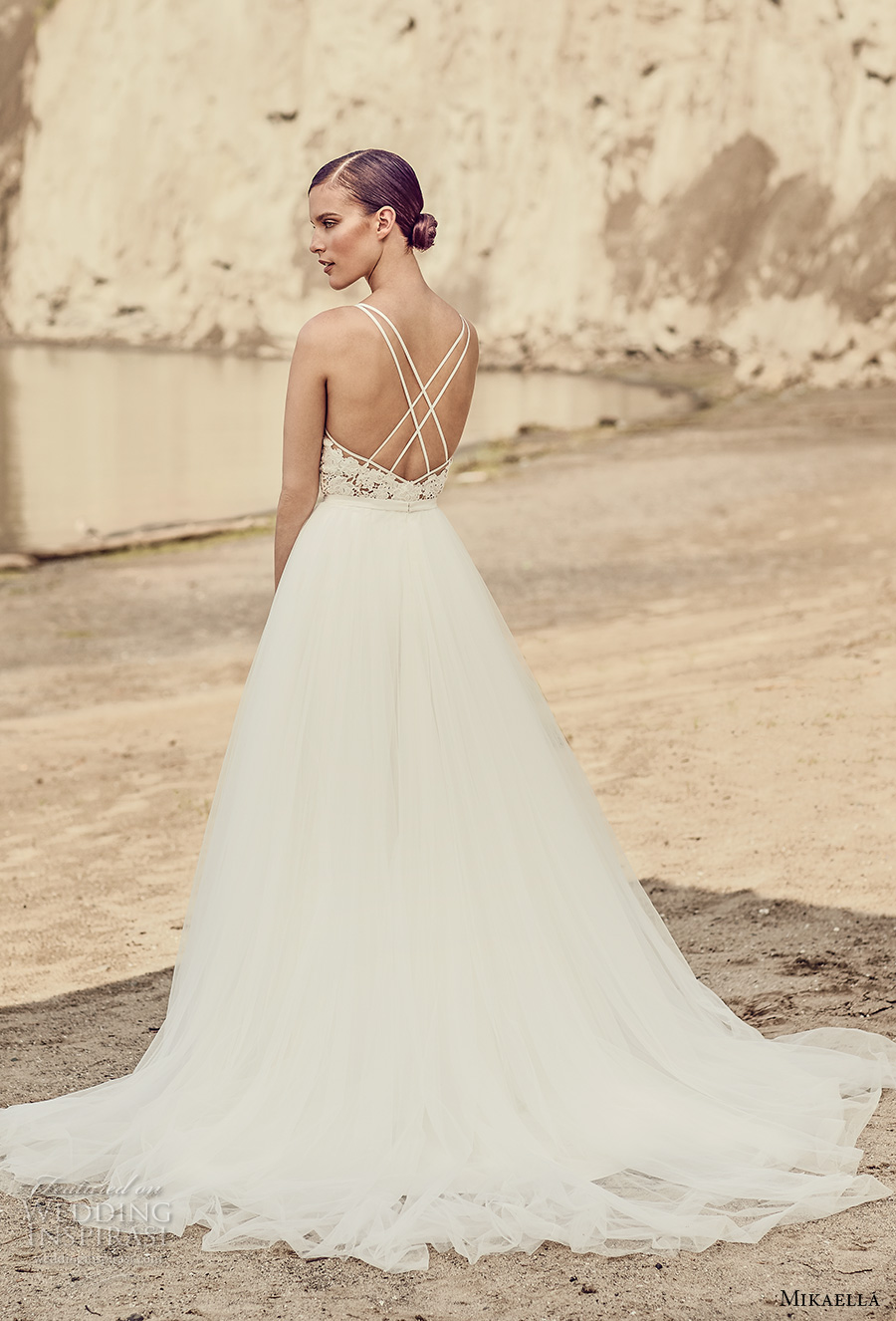 mikaella spring 2017 bridal sleeveless v neck heavily embroidered bodice romantic a line wedding dress cross strap back chapel train (2106) bv