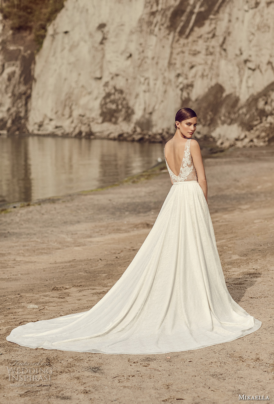 mikaella spring 2017 bridal sleeveless v neck heavily embroidered bodice romantic a  line wedding dress with pockets open low back royal train (2114) bv