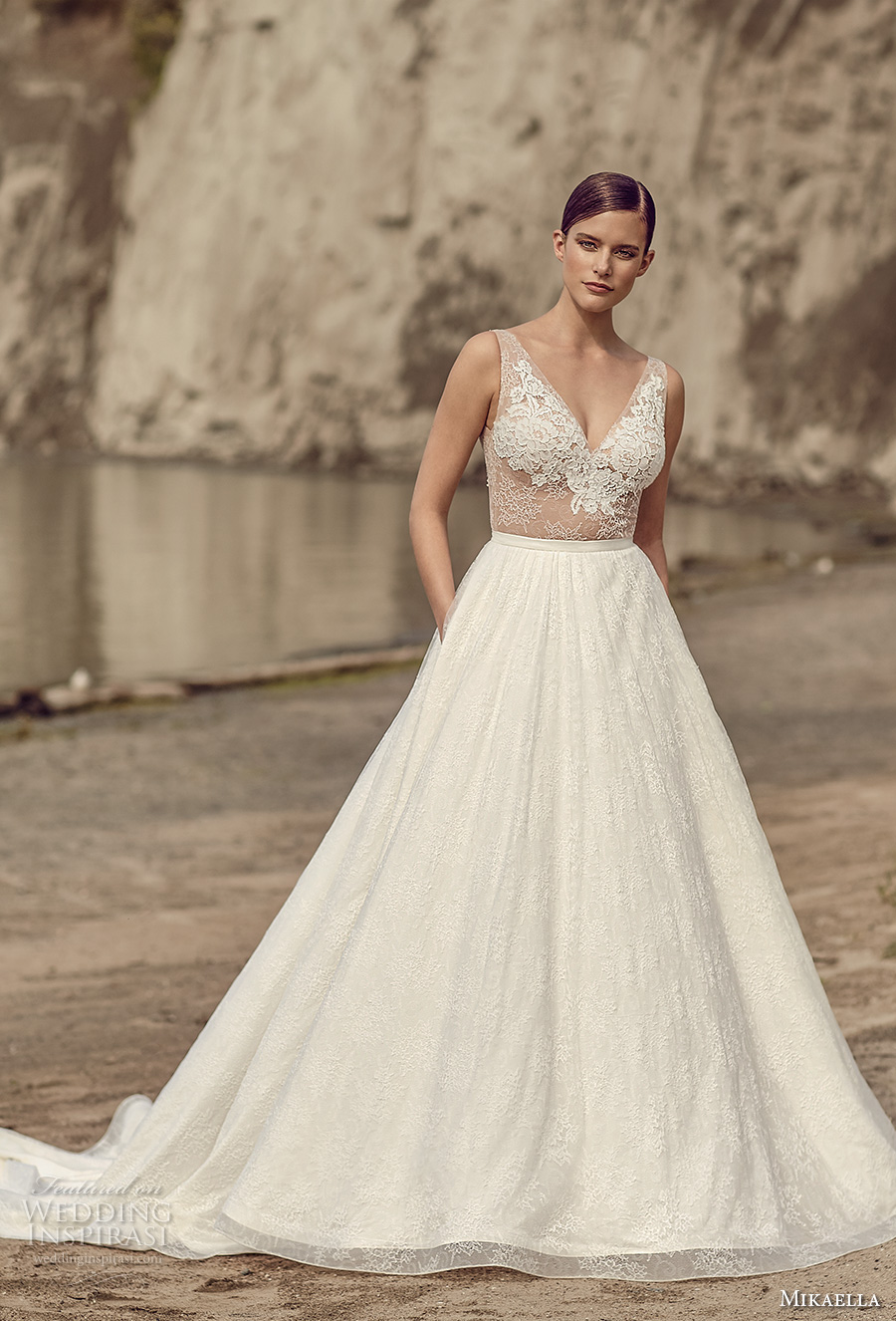 mikaella spring 2017 bridal sleeveless v neck heavily embroidered bodice romantic a  line wedding dress with pockets open low back royal train (2114) mv