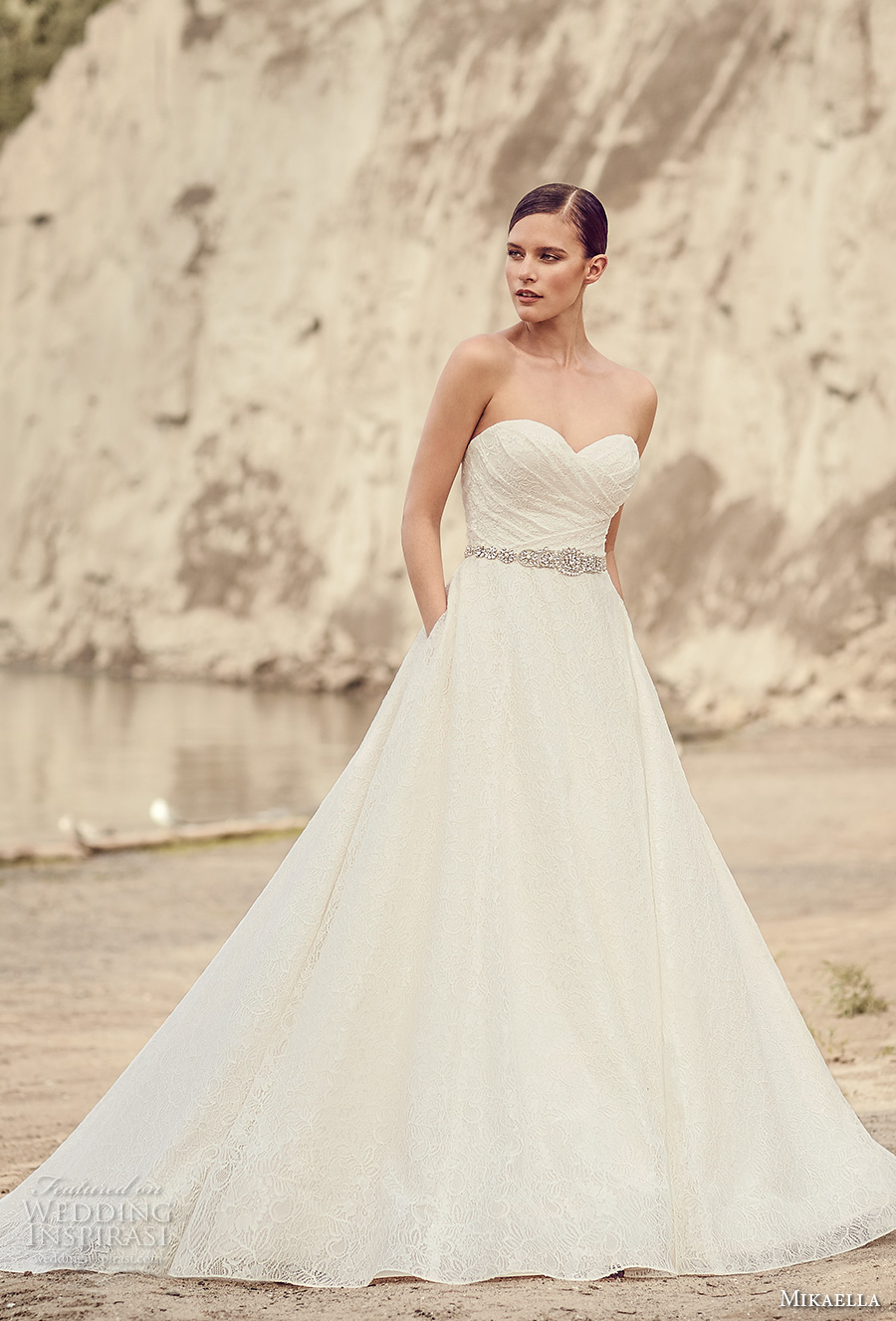 mikaella spring 2017 bridal strapless sweetheart neckline full embroidered ruched bodice romantic a line wedding dress with pockets chapel train (2113) mv