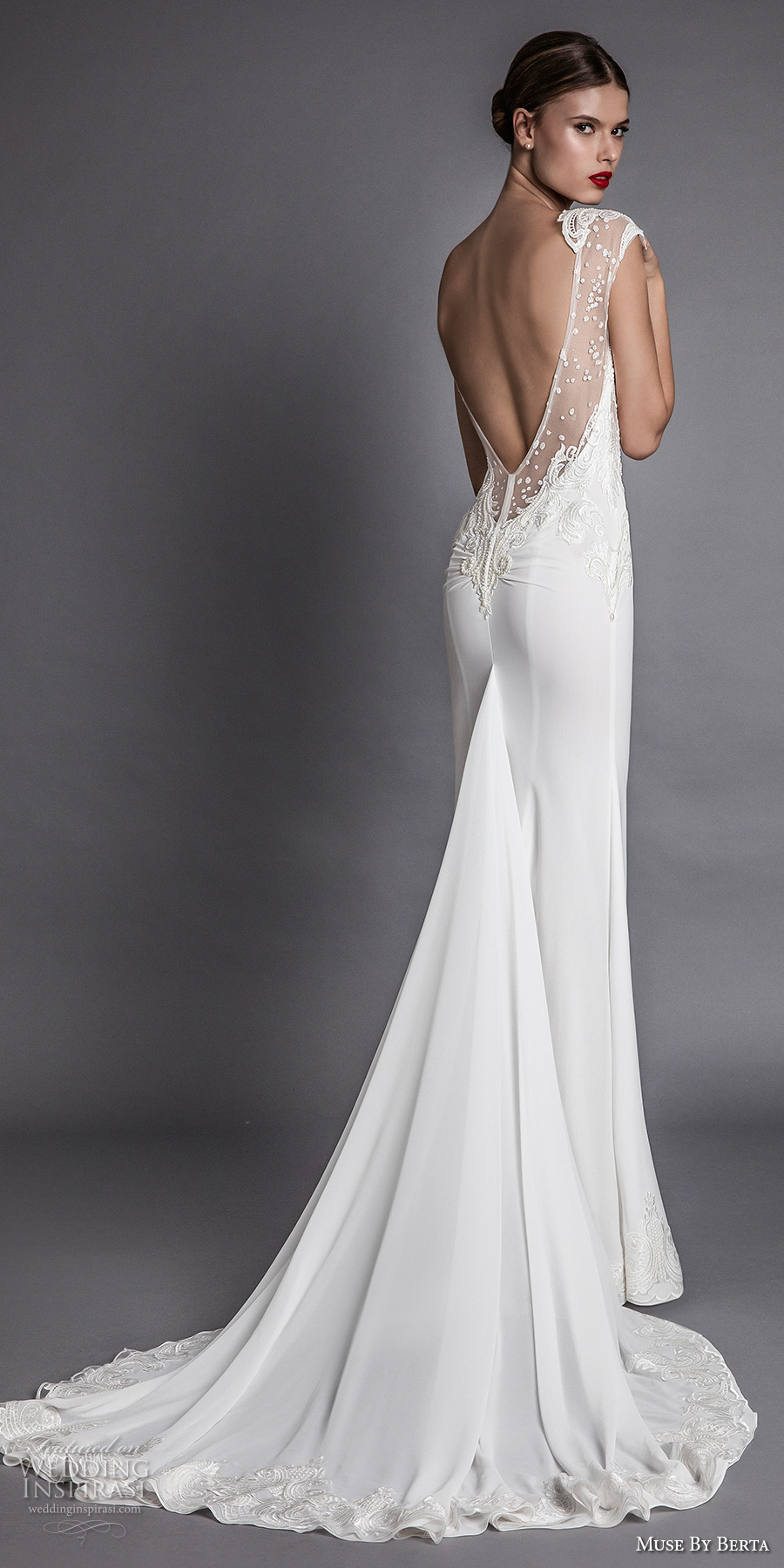 muse berta fall 2017 bridal cap sleeeves deep plunging v neckline heavily embroidered bodice elegant sexy sheath wedding dress open low back chapel train (aisha) bv
