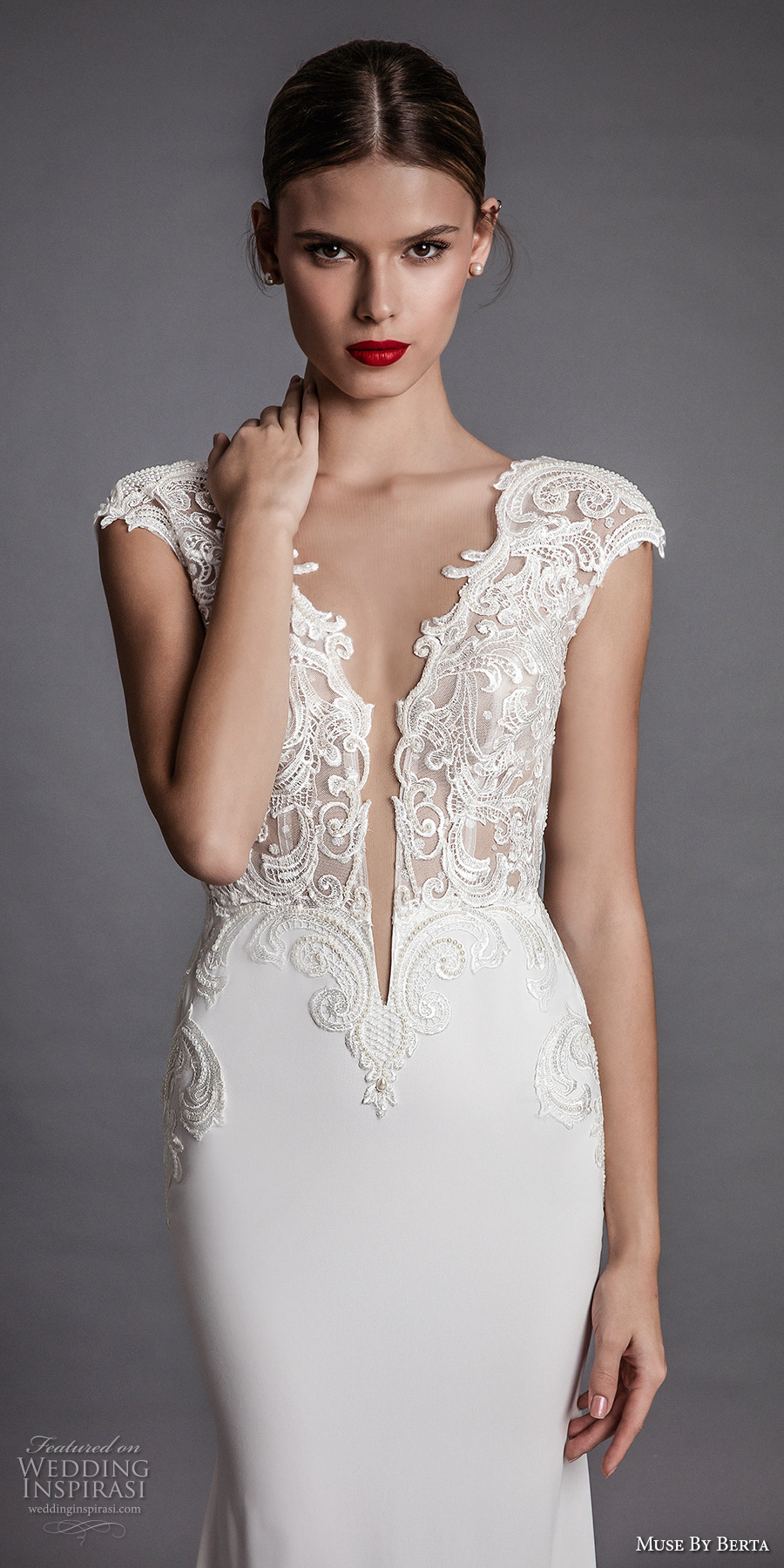 muse berta fall 2017 bridal cap sleeeves deep plunging v neckline heavily embroidered bodice elegant sexy sheath wedding dress open low back chapel train (aisha) zv