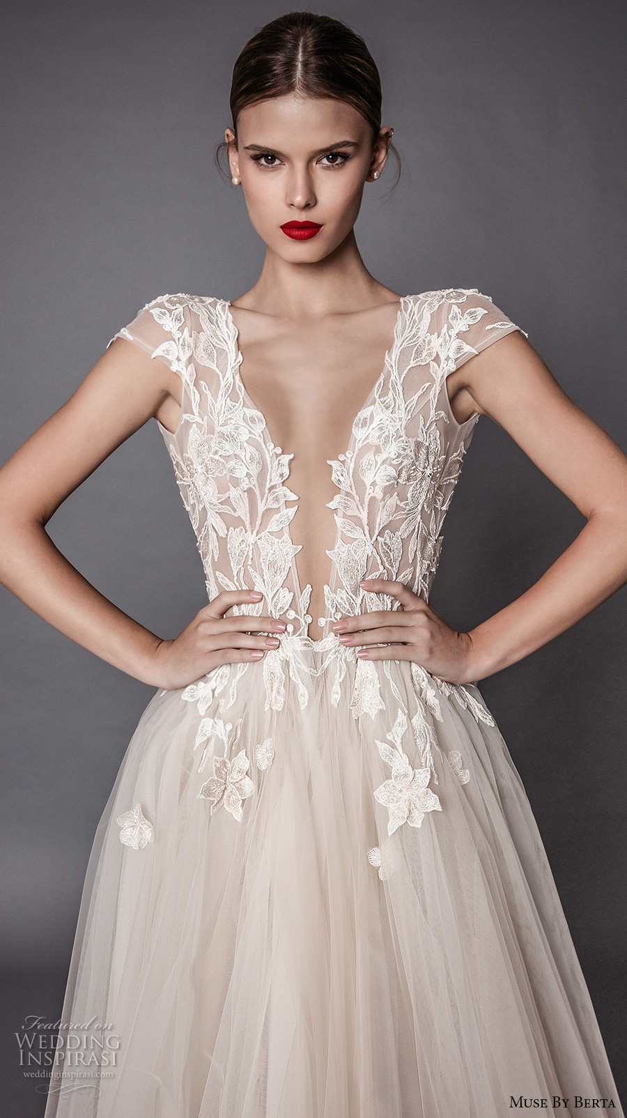 muse berta fall 2017 bridal cap sleeves deep plunging v neck heavily embellished bodice lace tulle skirt high side slit romantic sexy a  line wedding dress open low back sweep train (antonia) zv