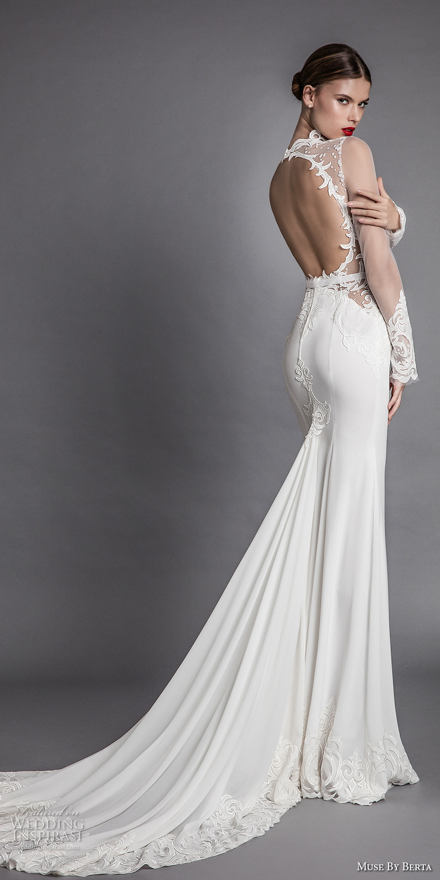 muse berta fall 2017 bridal long sheer sleeves queens anne neck deep plunging v neck heavily embroidered bodice elegant sexy sheath wedding dress keyhole back chapel train (alana) bv