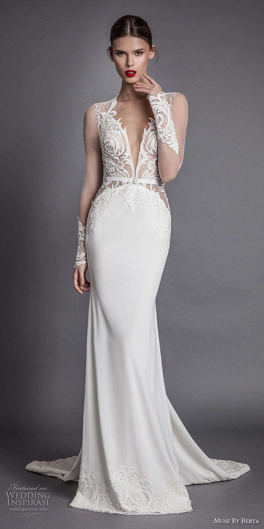 muse berta fall 2017 bridal long sheer sleeves queens anne neck deep plunging v neck heavily embroidered bodice elegant sexy sheath wedding dress keyhole back chapel train (alana) mv
