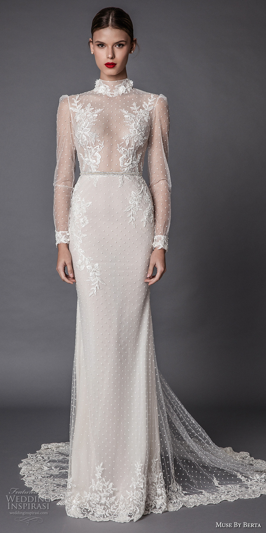 muse berta fall 2017 bridal long sleeves high neck full embellishment beaded elegant sheath wedding dress keyhole back chapel train (amadea) mv