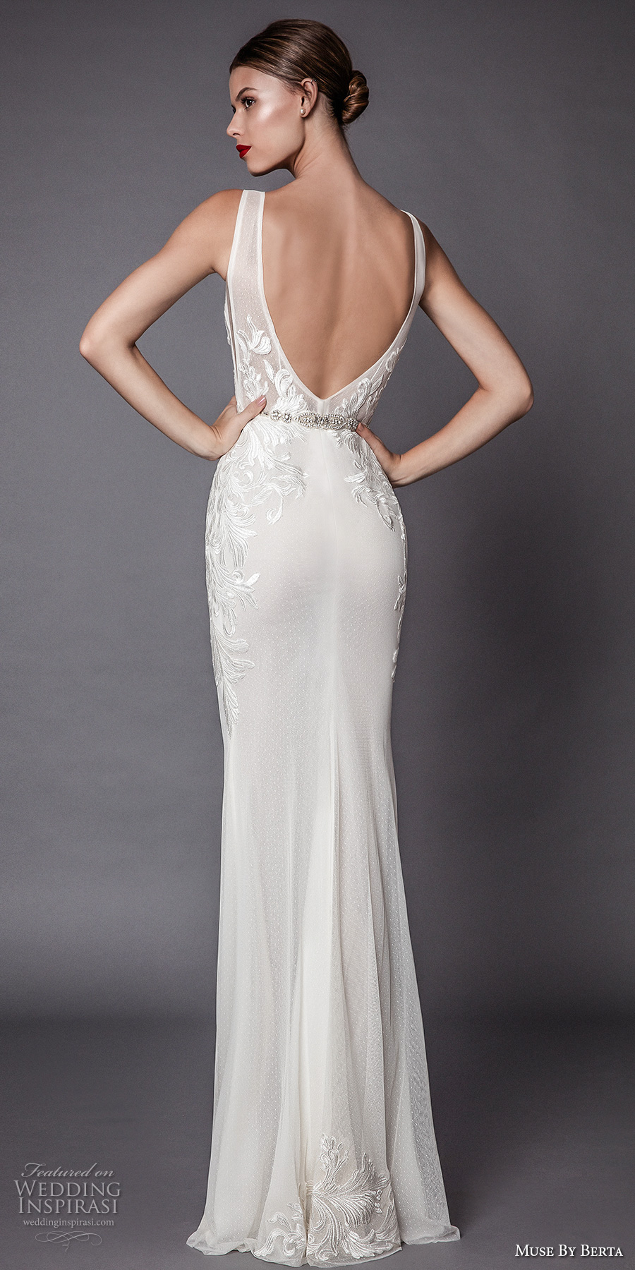 muse berta fall 2017 bridal sleeveless deep v neck heavily embellished bodice and trim elegant sexy sheath wedding dress open low back sweep train (amadis) bv