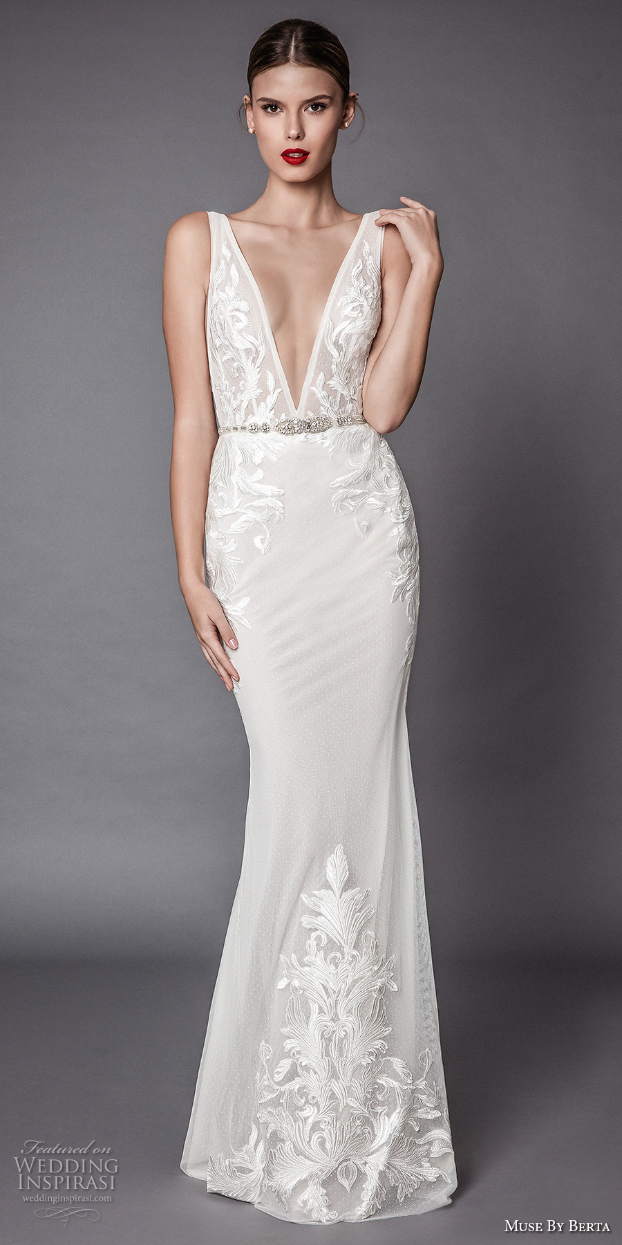 muse berta fall 2017 bridal sleeveless deep v neck heavily embellished bodice and trim elegant sexy sheath wedding dress open low back sweep train (amadis) mv