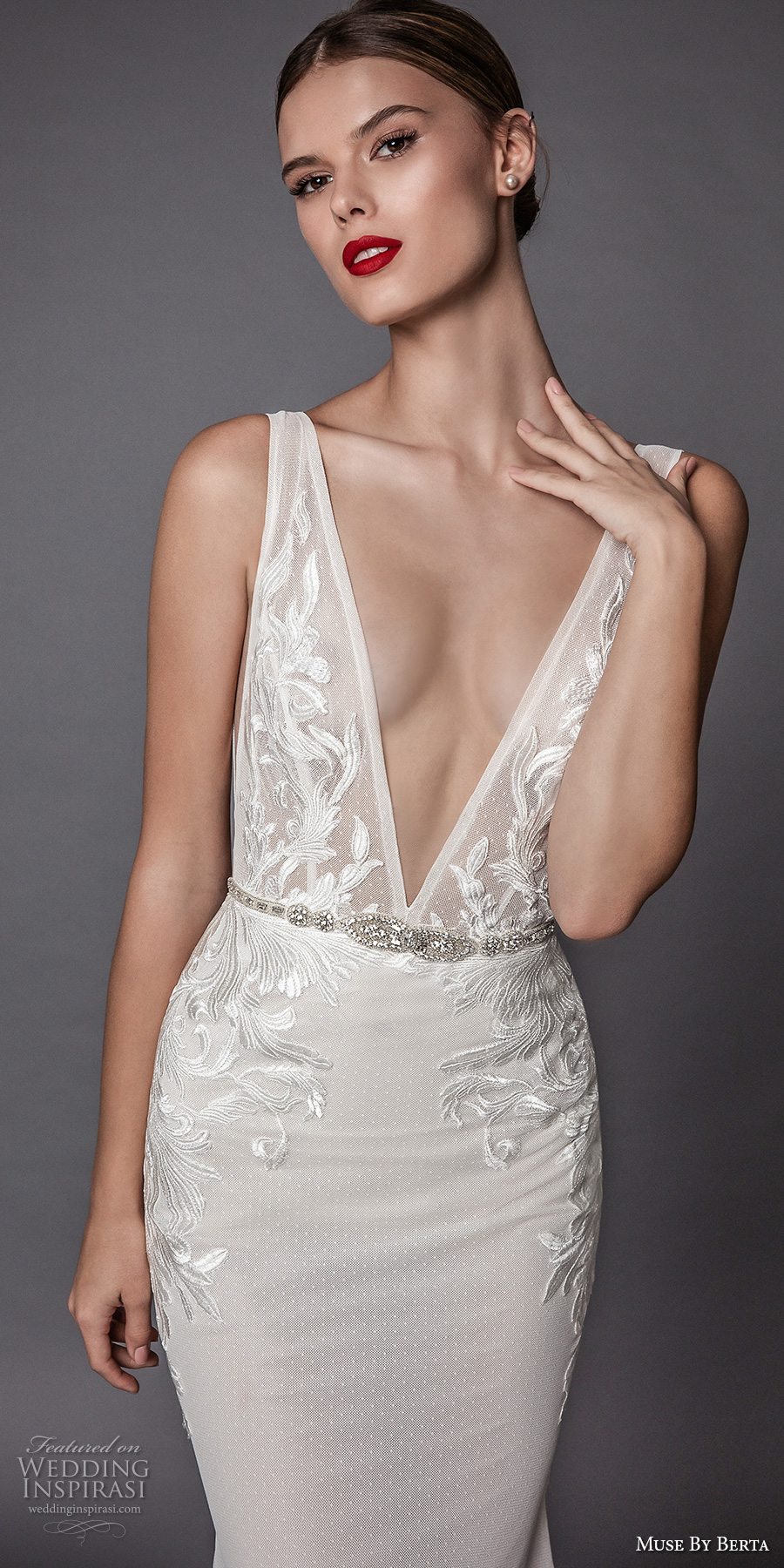 muse berta fall 2017 bridal sleeveless deep v neck heavily embellished bodice and trim elegant sexy sheath wedding dress open low back sweep train (amadis) zv
