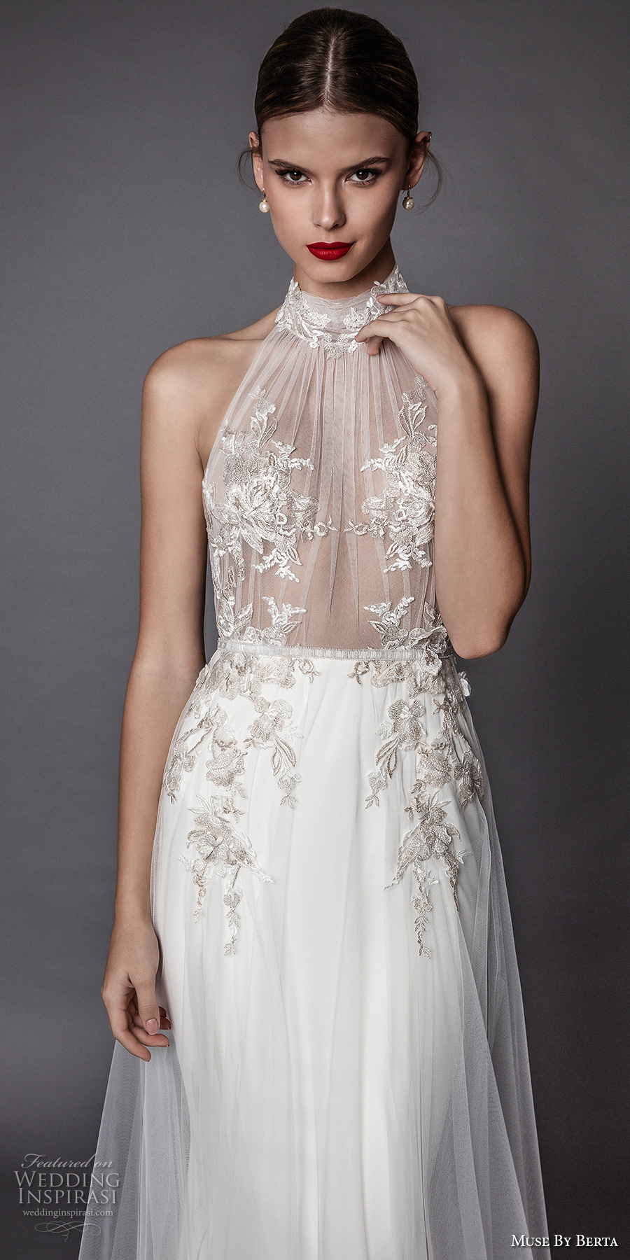 muse berta fall 2017 bridal sleeveless halter neck sheer heavily embroidered bodice elegant sexy modified a  line wedding dress open low back sweep train (armanda) zv