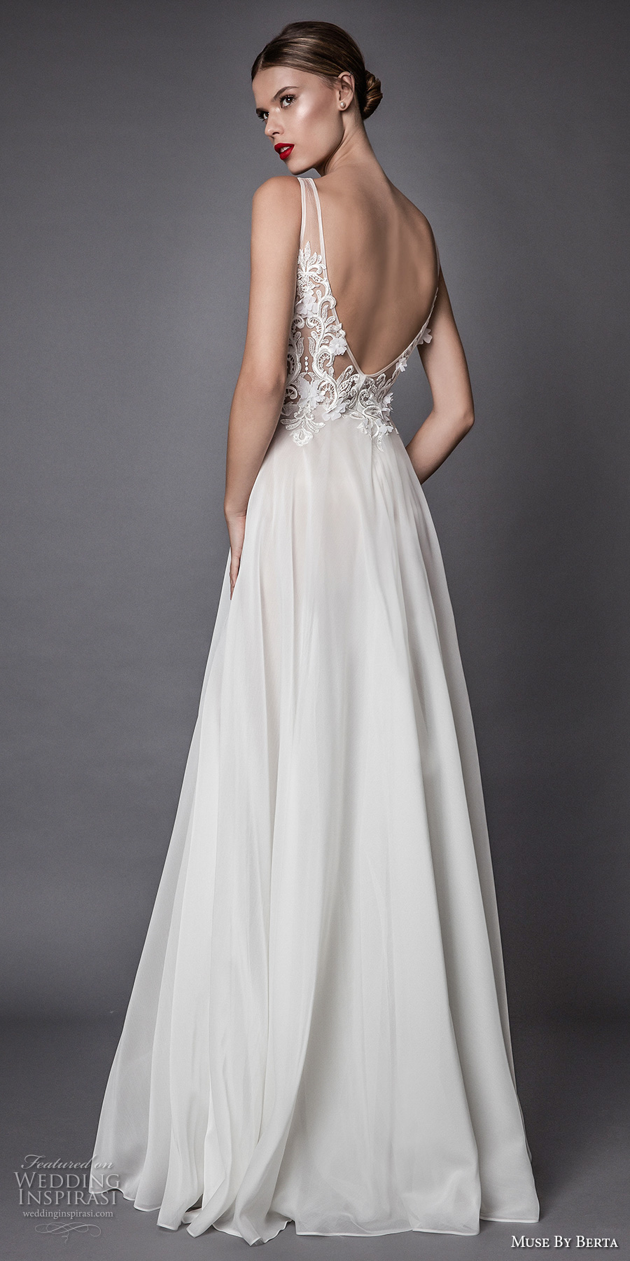 muse berta fall 2017 bridal sleeveless illusion bateau heavily embroidered bodice sexy romantic modified a  line wedding dress open low back sweep train (alama) bv