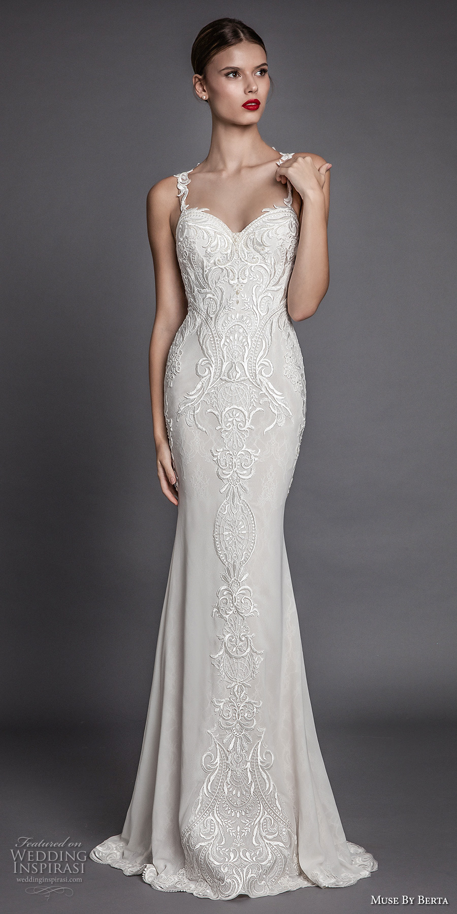 muse berta fall 2017 bridal sleeveless thin strap sweetheart neckline heavily embroidered bodice elegant beautiful sheath wedding dress rasor back chapel train (amancia) mv