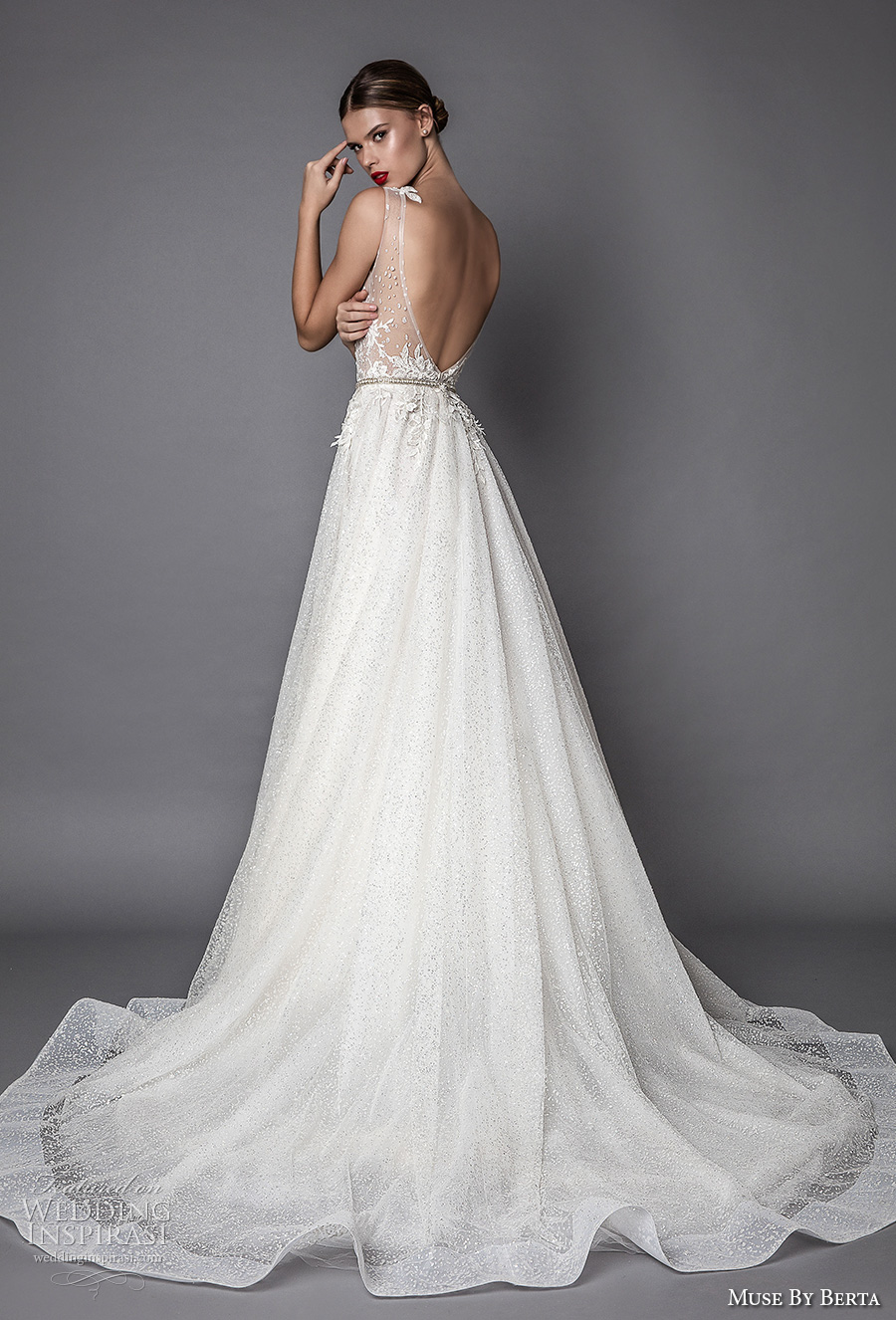 muse berta fall 2017 bridal sleevelesss bateau neckline heavily embroidered bodice lace sexy romantic a  line wedding dress open low back chapel train (aurelia) bv