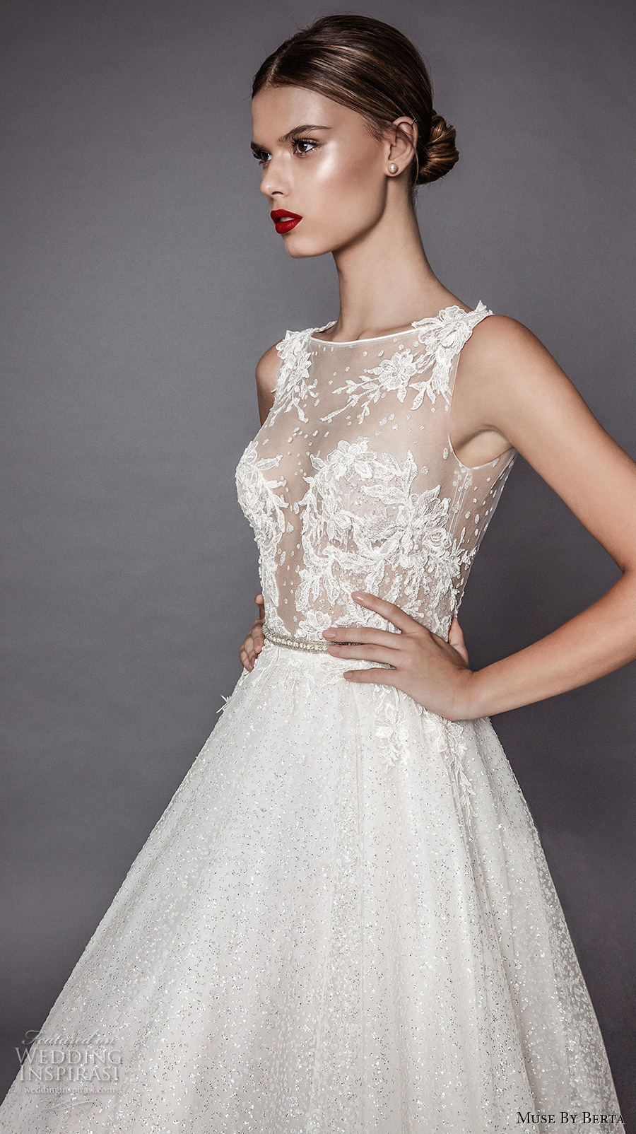 muse berta fall 2017 bridal sleevelesss bateau neckline heavily embroidered bodice lace sexy romantic a  line wedding dress open low back chapel train (aurelia) zv
