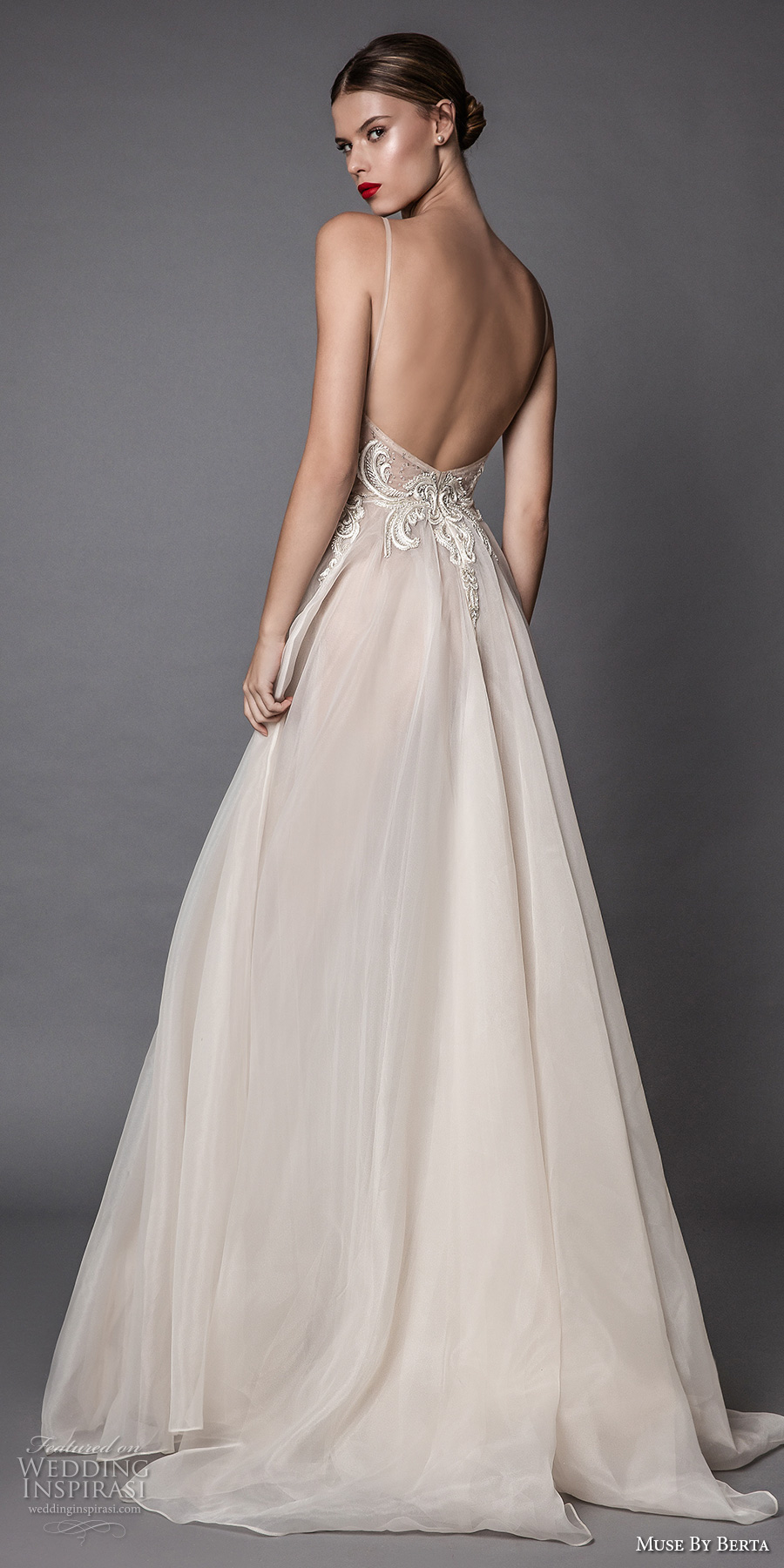 muse berta fall 2017 bridal spagetti strap deep sweetheart neckline heavily embroidered bodice tulle skirt romantic sexy blush flowy a  line wedding dress open low back sweep train (amata) bv