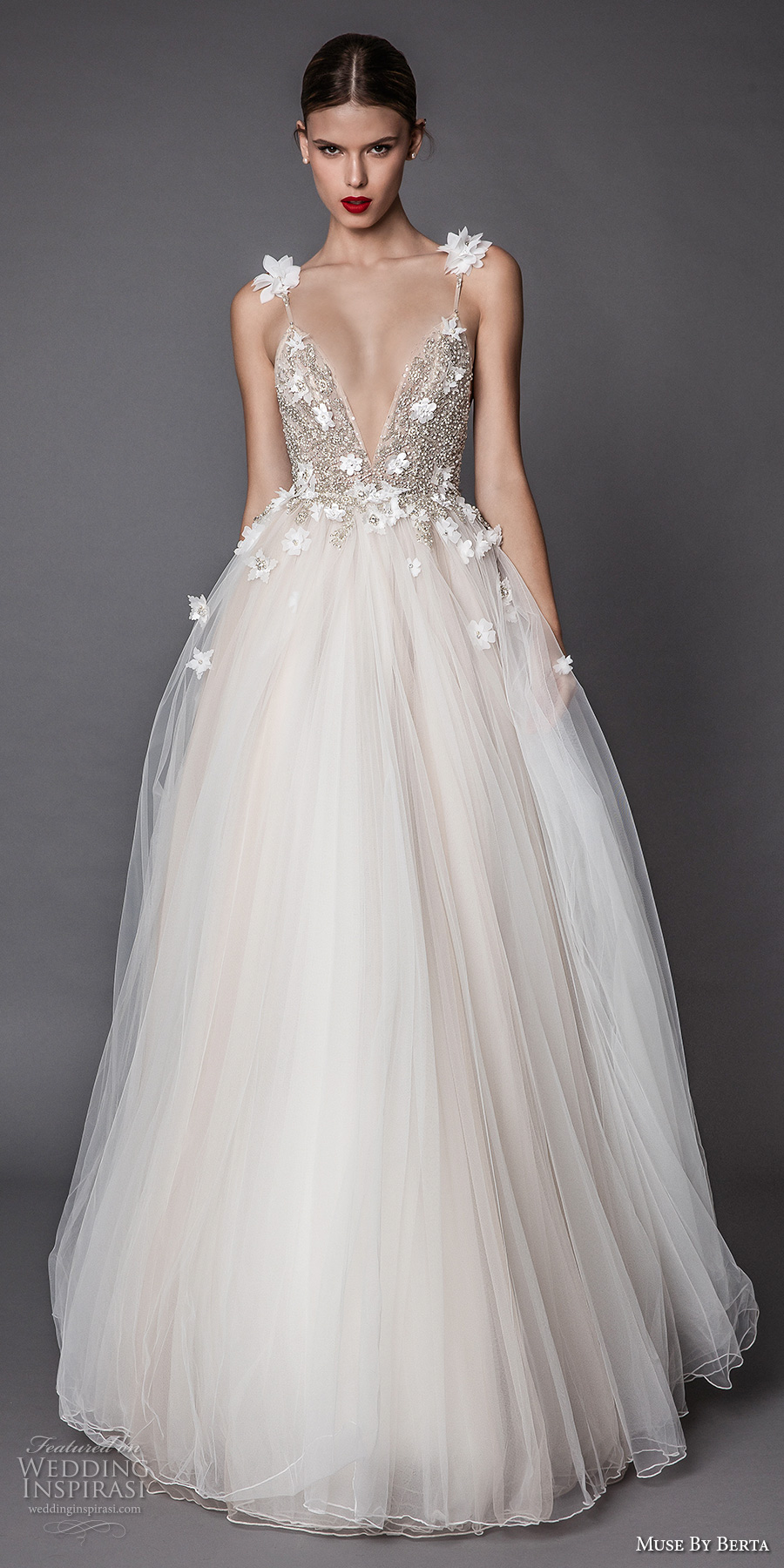 muse berta fall 2017 bridal spagetti strap deep v neck heavily embellished bodice floral applique tulle skirt romantic a  line wedding dress open low back sweep train (adel) mv