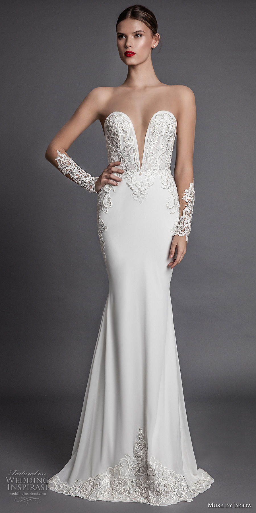 muse berta fall 2017 bridal strapless deep plunging sweetheart neckline heavily embroidered bodice elegant sexy sheath wedding dress open low back chapel train (alecia) mv