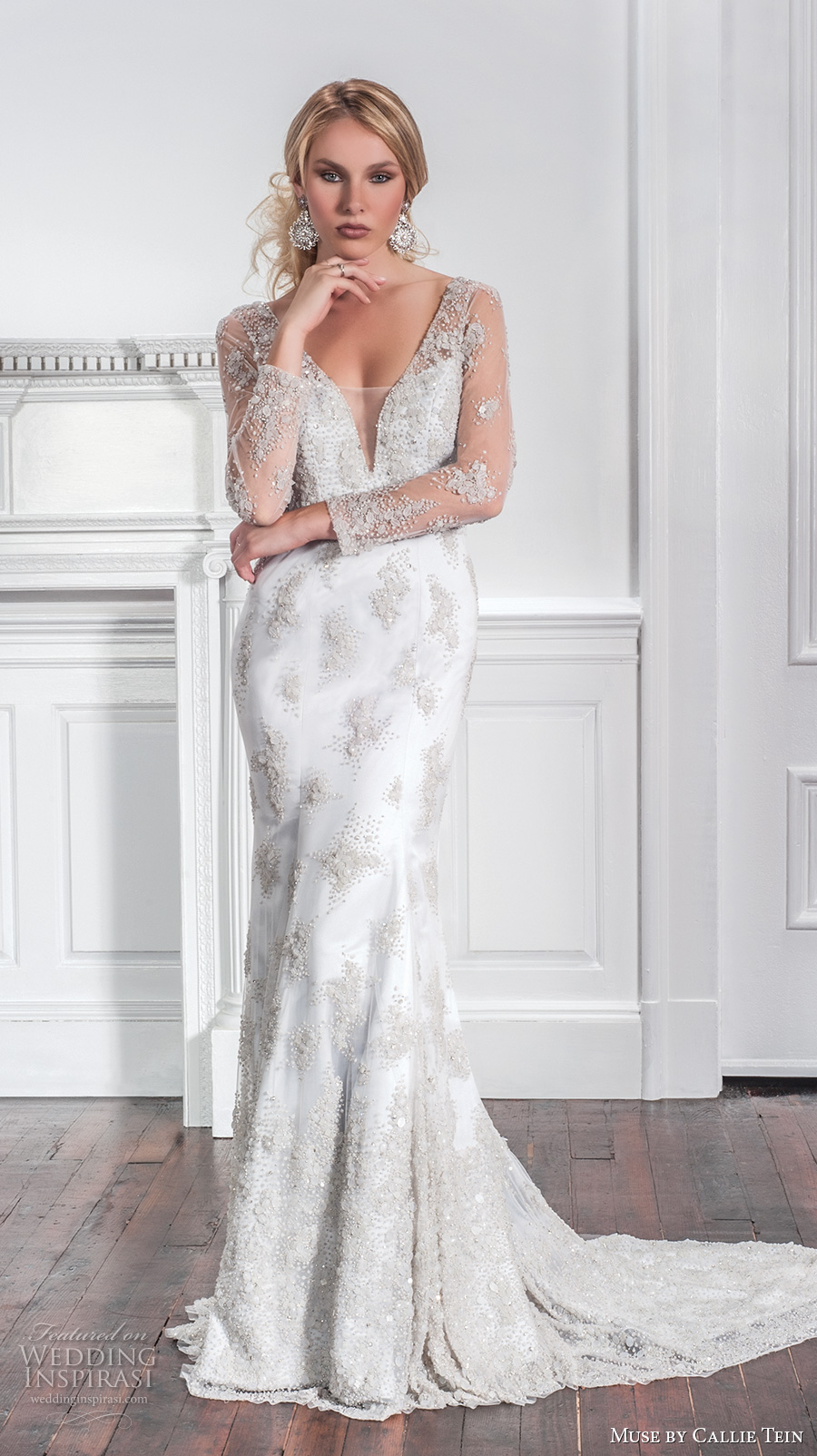 muse by callie tein fall 2017 bridal long sleeves deep plunging v neck full embellishment glitter beaded elegant sexy sheath fit flare wedding dress low back chapel train (luna) mv