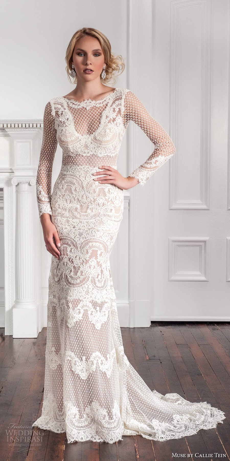 muse by callie tein fall 2017 bridal long sleeves illusion jewel v neckline full embroidered elegant sexy lace sheath wedding dress chapel train (roux) mv