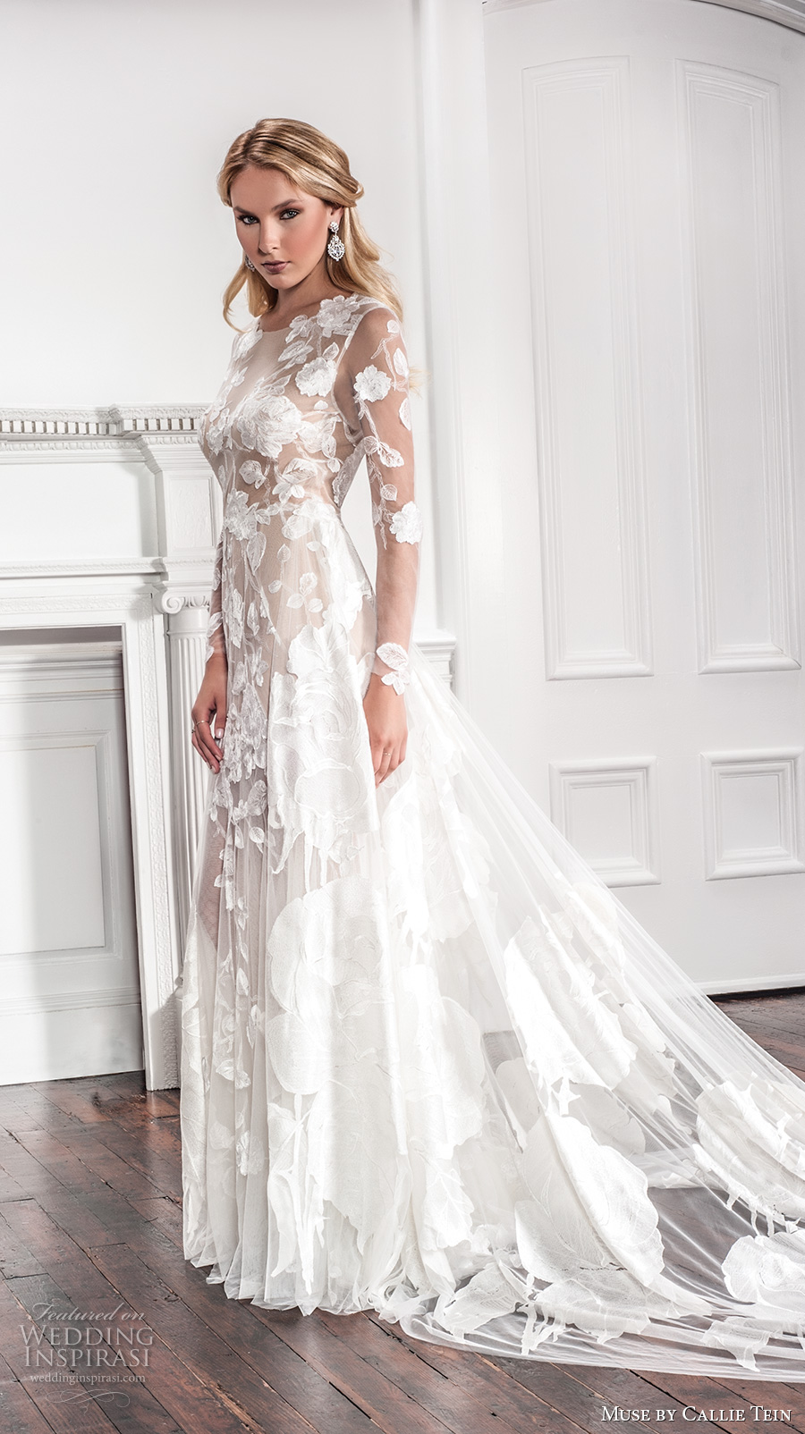 muse by callie tein fall 2017 bridal long sleeves jewel neckline full embroidered floral applique lace elegant sheath wedding dress full illusion lace back chapel train (brielle) mv