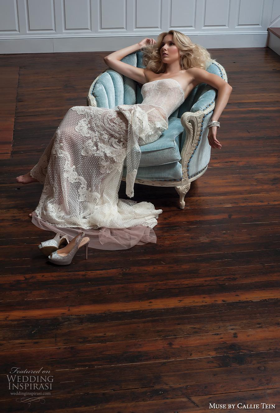muse by callie tein fall 2017 bridal strapless straight across neckline corset bodice full embellishment lace elegant sexy sheath wedding dress chapel train (briony) mv