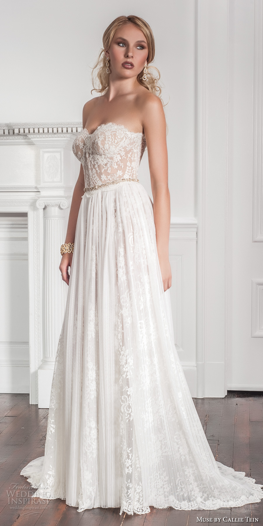 muse by callie tein fall 2017 bridal strapless sweetheart neckline heavily embroidered bodice bustier romantic pretty modified a  line wedding dress sweep train (garland) mv