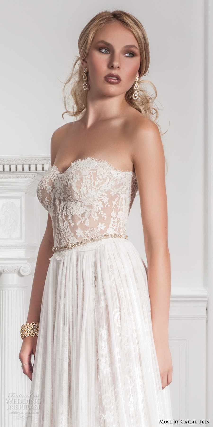 muse by callie tein fall 2017 bridal strapless sweetheart neckline heavily embroidered bodice bustier romantic pretty modified a  line wedding dress sweep train (garland) zv