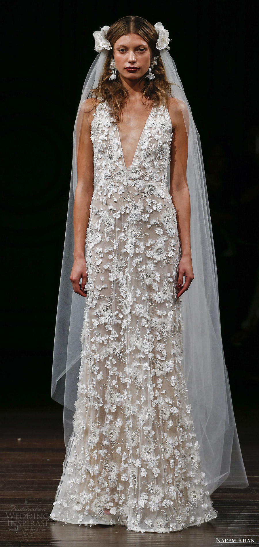 naeem khan fall 2017 (fez) sleeveless straps deep vneck floral embroidery trumpet wedding dress mv