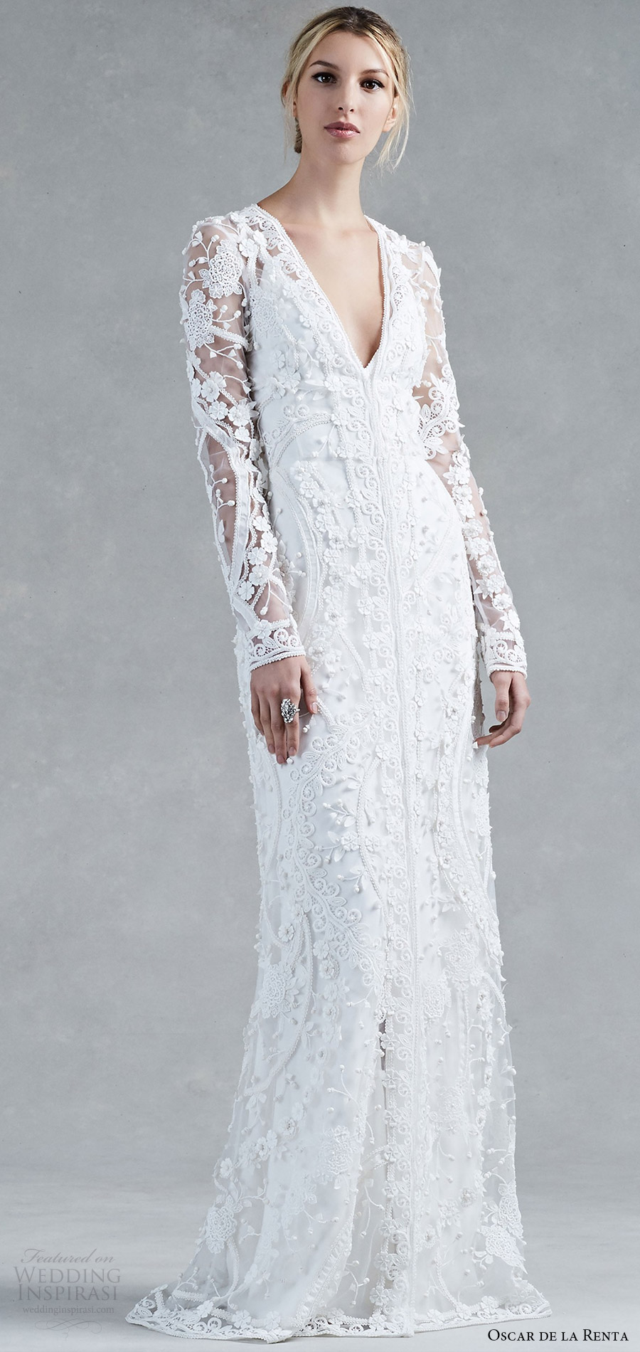 oscar de la renta fall 2017 long sleeves deep v neck embroidered coat column sheath wedding dress (halle) mv