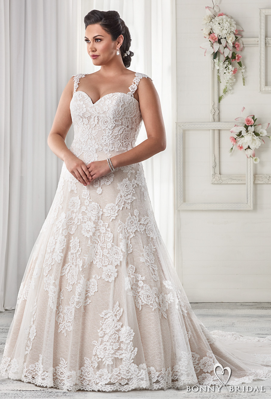 Bonny bridal wedding dresses unforgettable styles for for Plus size beaded wedding dresses