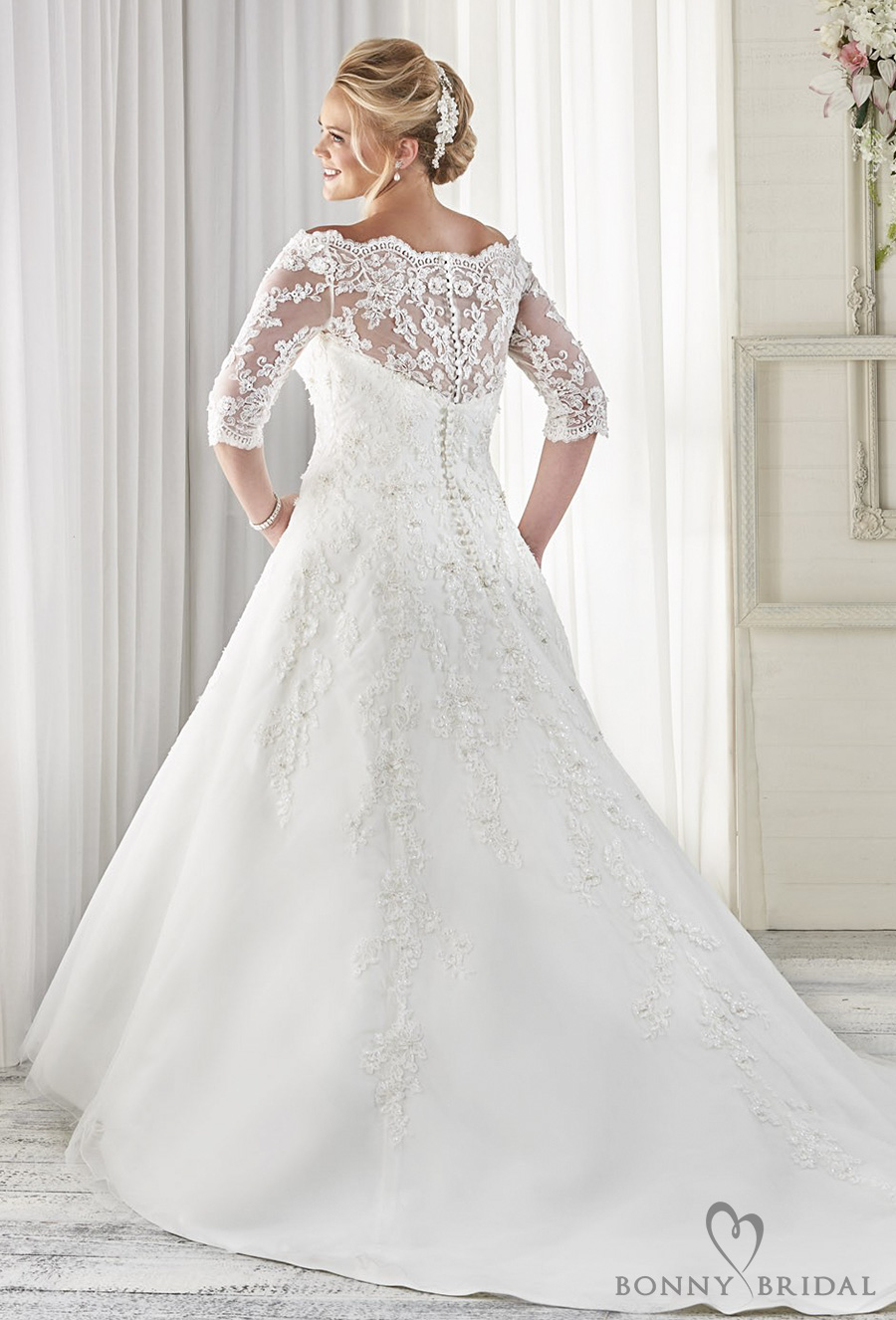 bonny bridal 2017 half sleeves off the shoulder sweetheart neckline heavily embellished bodice plus size a line wedding dress covered lace back chapel train (1614) bv
