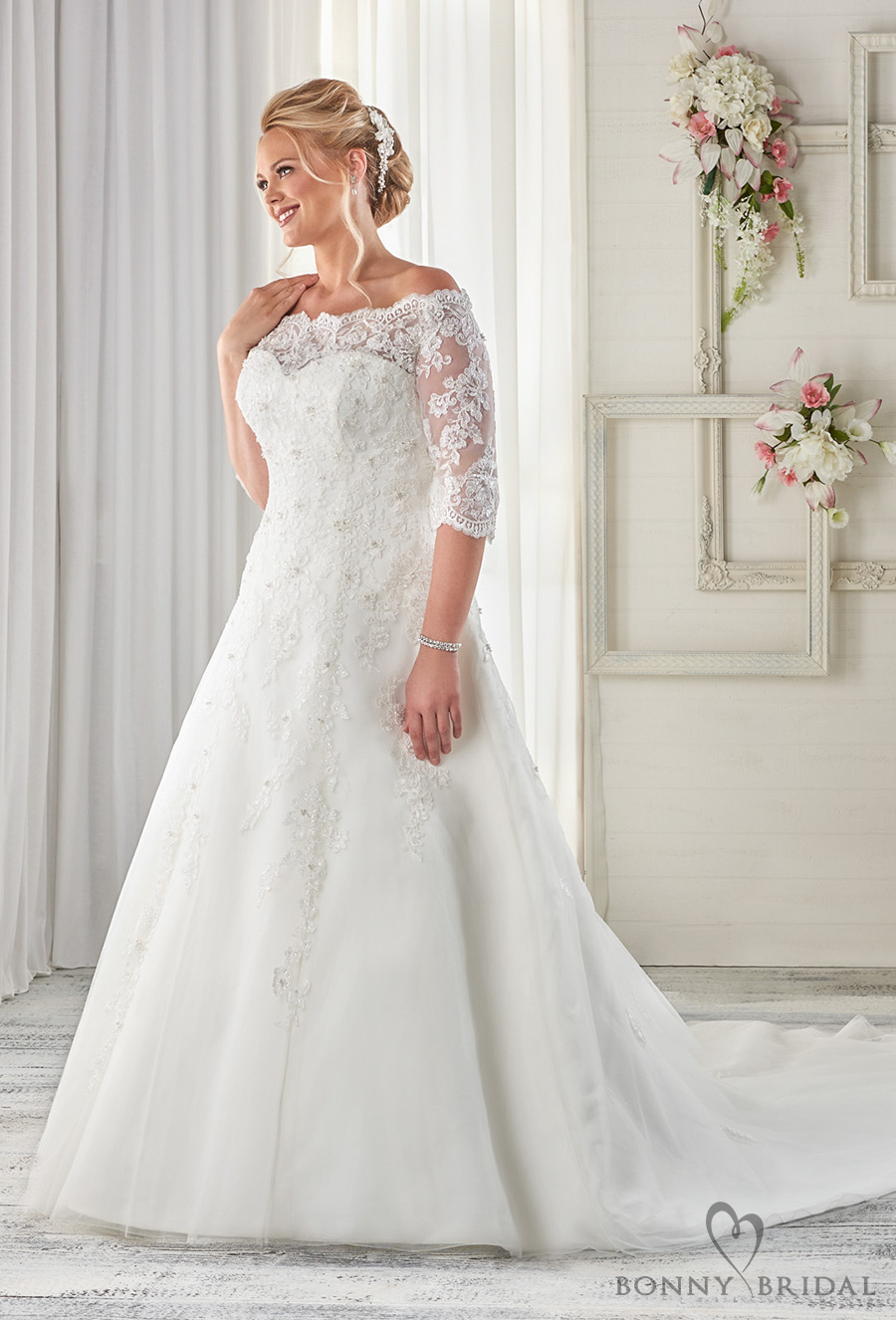 bonny bridal 2017 half sleeves off the shoulder sweetheart neckline heavily embellished bodice plus size a  line wedding dress covered lace back chapel train (1614) mv