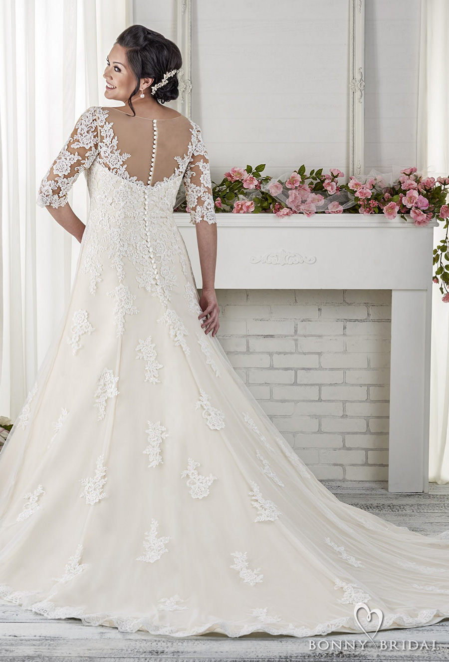 bonny bridal 2017 half sleeves sweetheart neckline heavily embellished bodice plus size drop waist modified a line wedding dress chapel train (1618) bv